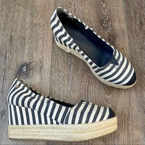 Victor Alfaro Striped White and Navy Wedges